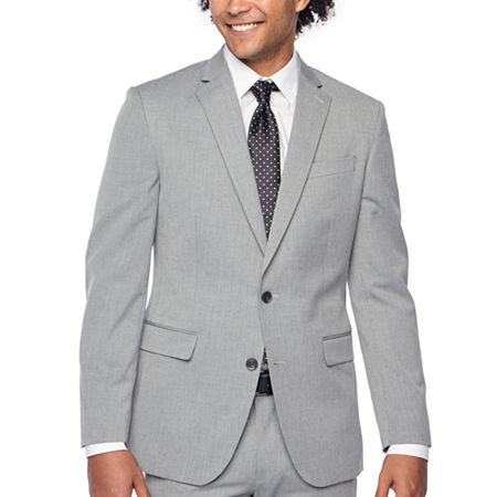 JF J.Ferrar Light Gray Texture Mens Stretch Slim Fit Suit Jacket, 34 Regular, Gray