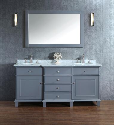 HD-7000G-60-CR Stufurhome Cadence Grey 60 inch Double Sink Bathroom Vanity with