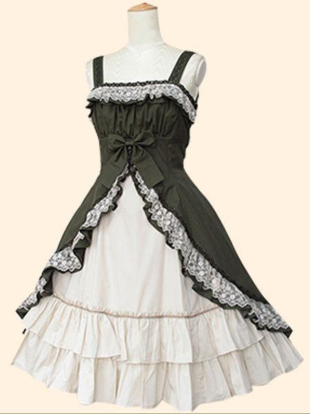 Milanoo Sweet Lolita Dress JSK Two Tone Cotton Lolita Jumper Skirt