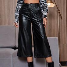 PU Leather Wide Leg Capris Pants Without Belt