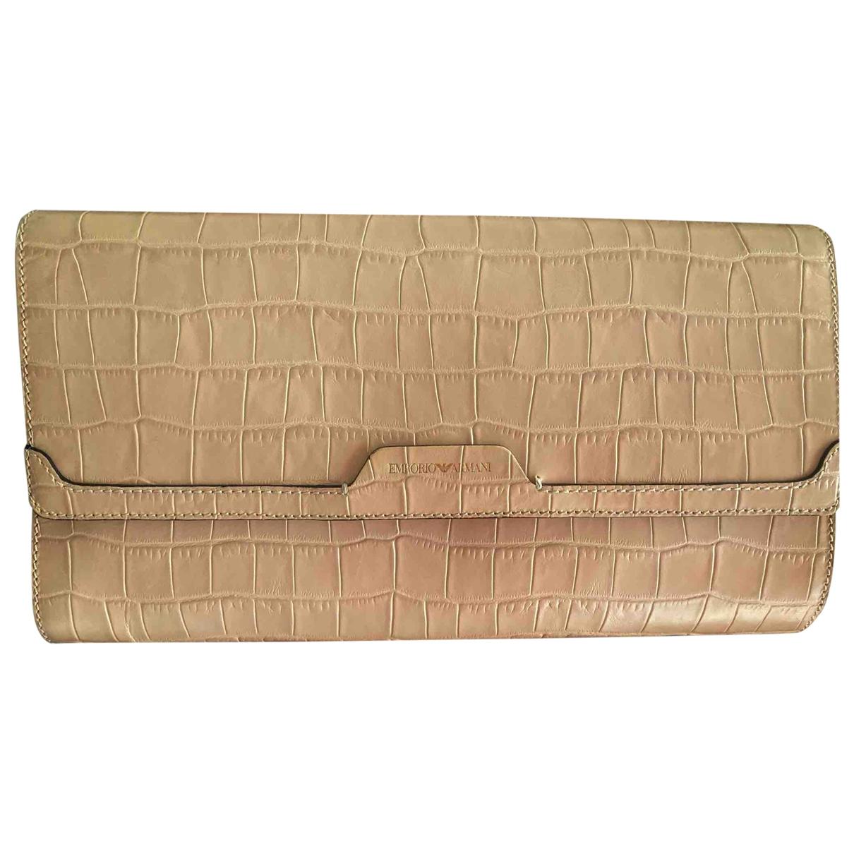 Emporio Armani - Pochette   pour femme en cuir - beige