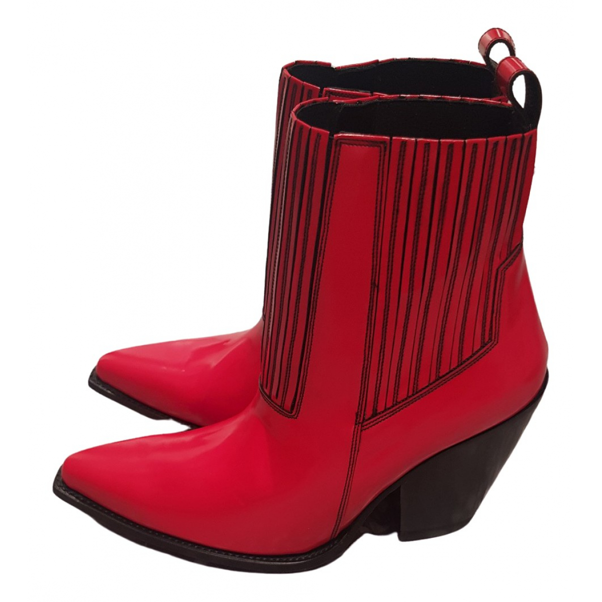 Valentino Garavani \N Red Patent leather Ankle boots for Women 41.5 EU