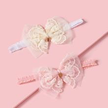 2 Stuecke Baby Stirnband mit Schleife Dekor
