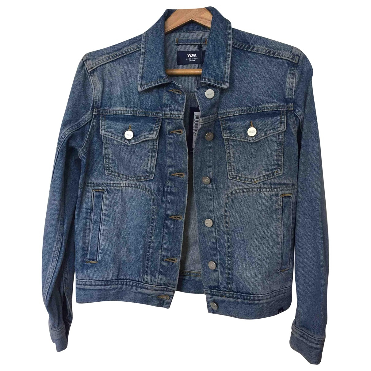 Wood Wood \N Blue Denim - Jeans jacket for Women 36 FR