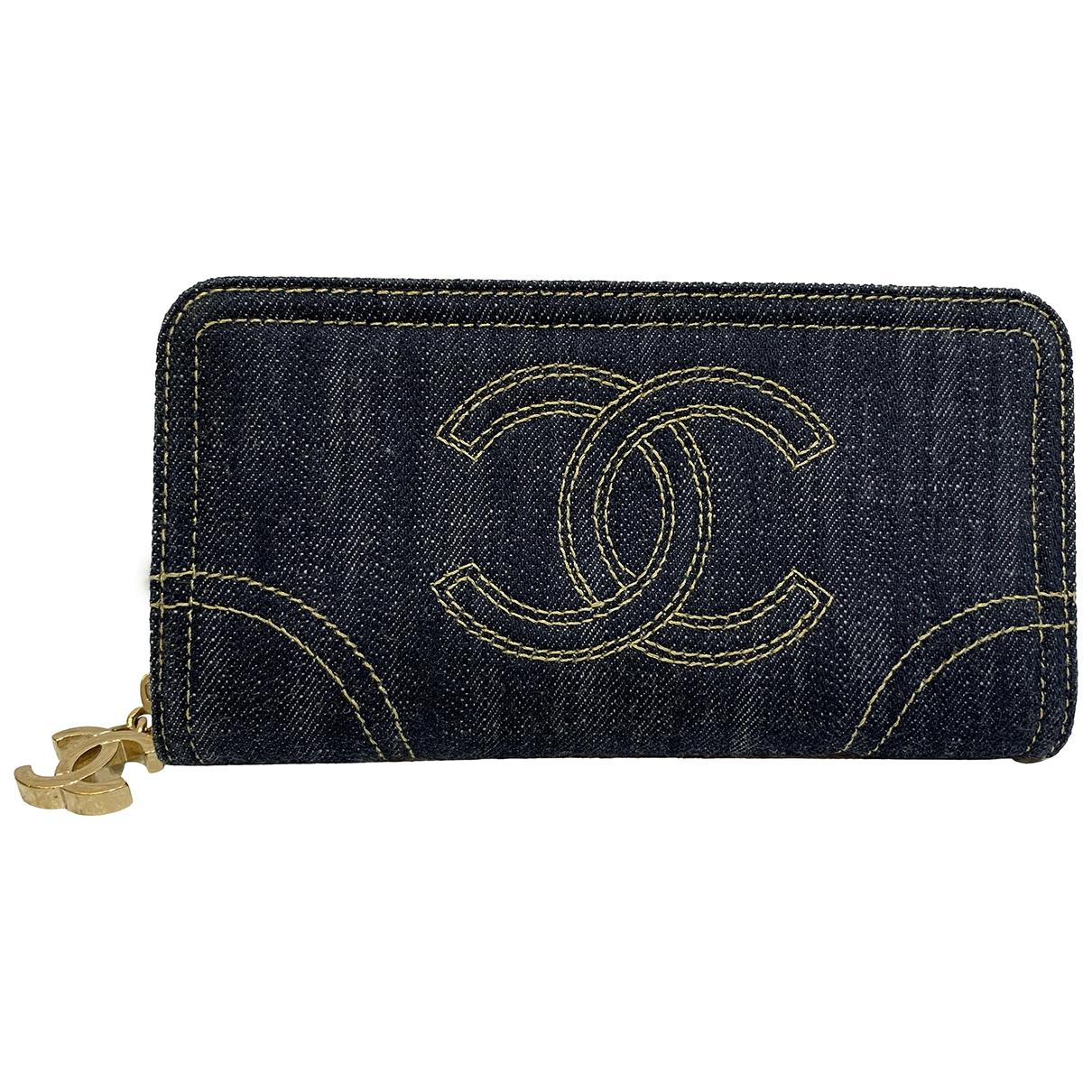 Chanel - Portefeuille   pour femme en denim - marine
