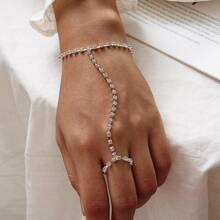 Strass Gravierte Fingerkette Armband 1pc