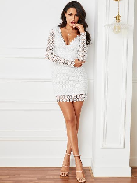 YOINS White Lace Plain Deep V Neck Long Sleeves Dress