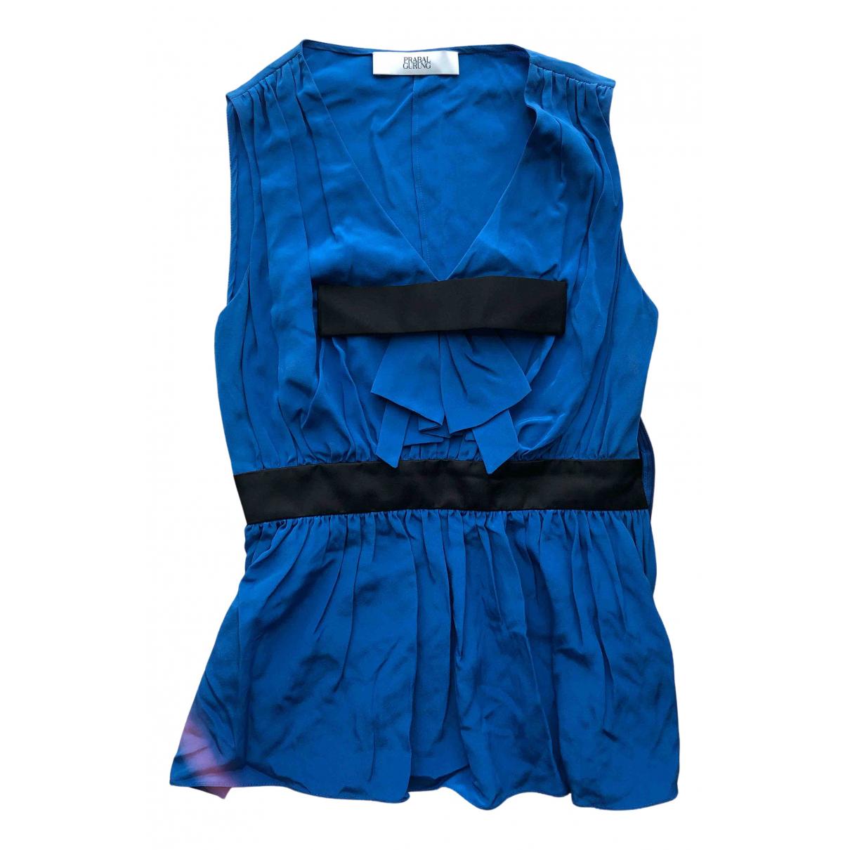 Prabal Gurung N Blue Silk  top for Women 4 US