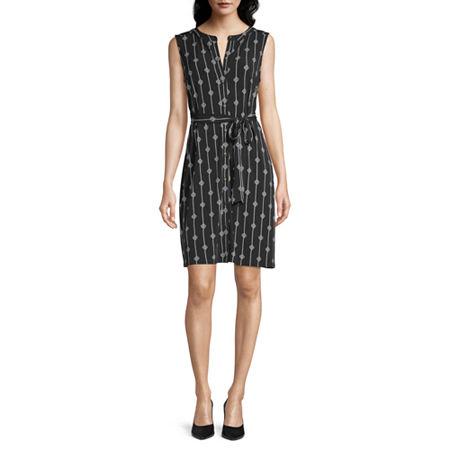 Liz Claiborne Sleeveless Shirt Dress, Xx-large , Black