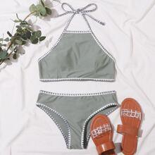 Bikini Badeanzug mit Stich und Neckholder