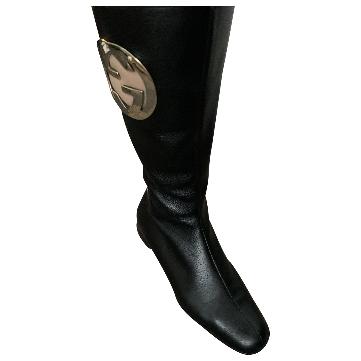 Gucci N Black Leather Boots for Women 36.5 EU