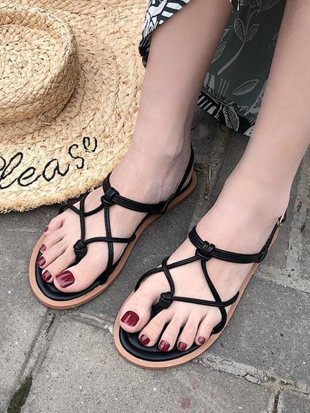 Milanoo Womens Balck Flat Sandals Chic Open Toe starp Sandals shoes