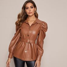 Gigot Sleeve Belted PU Leather Jacket