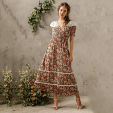 Schiffy Panel Floral Print A-line Dress