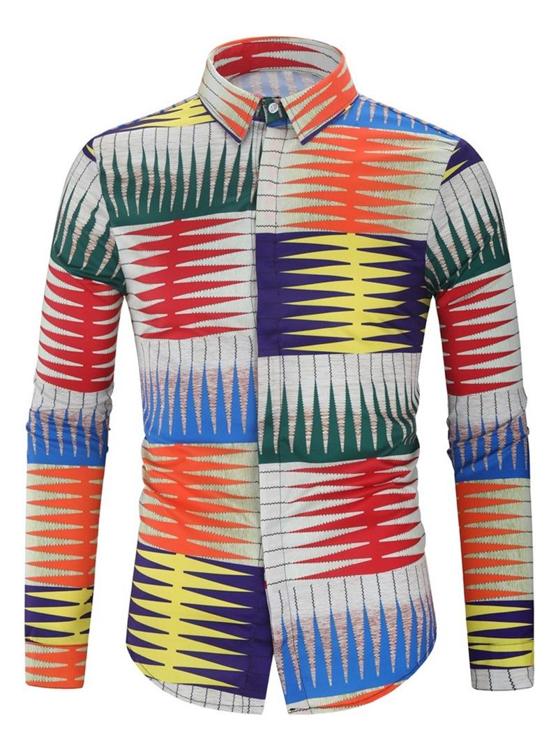 Ericdress Color Block Lapel Button Single-Breasted Men's Slim Shirt