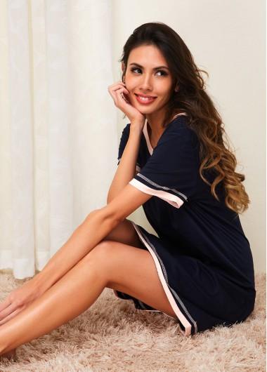 Womens Nightshirts Sleepshirts Nightgowns Short Sleeve Navy Blue Loungewear Dress - M