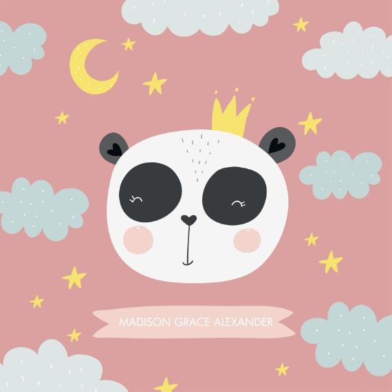 Baby 18x18 Square Throw Pillow, Gift -Pillow Panda by Tumbalina