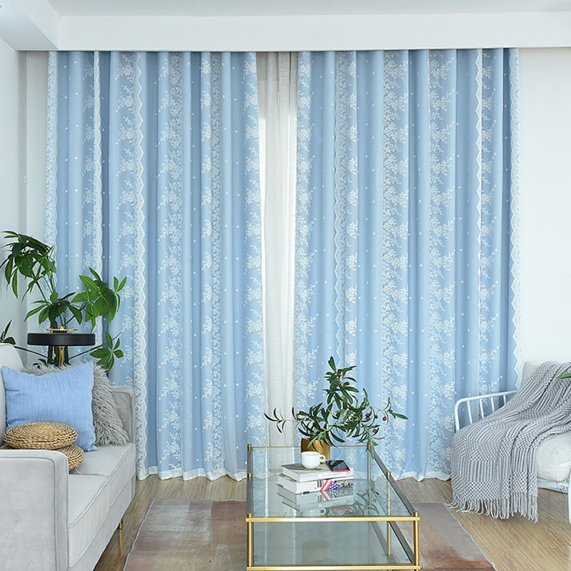 Nordic Style Simple Blackout Curtain Set Cloth and Sheer Sewing Together Custom 2 Panels Drapes for Living Room Bedroom