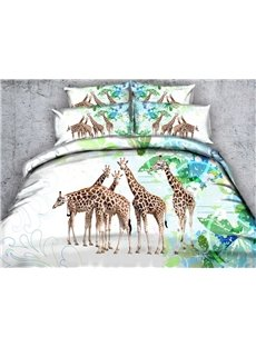 Giraffe and Green Leaves Printed Cotton 4-Piece 3D Bedding Sets/Duvet Covers