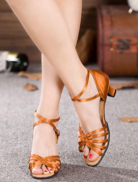 Milanoo Danza negra sandalias correas saten tacones para las mujeres