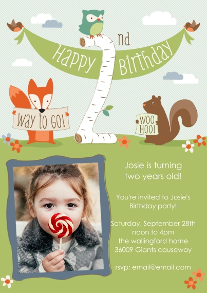 Kids Birthday Party Invites 5x7 Cards, Premium Cardstock 120lb with Elegant Corners, Card & Stationery -Woodland Woo Hoo 2