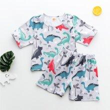 Toddler Boys Allover Dinosaur Print PJ Set