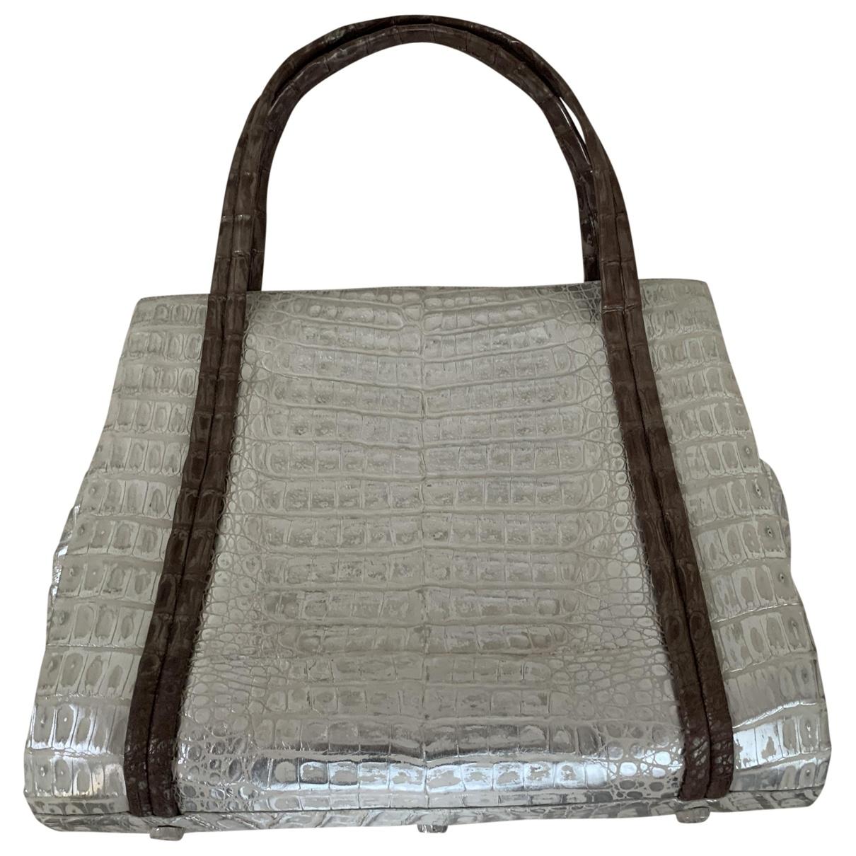 Nancy Gonzalez \N Handtasche in  Silber Krokodil