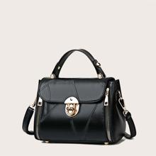 Bolso cartera con asa con diseño de puntada
