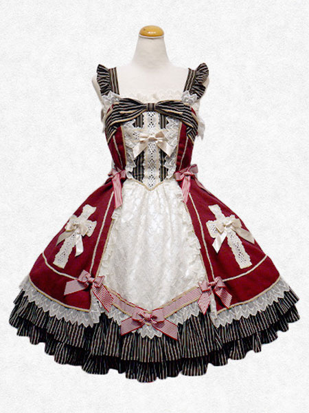 Milanoo Sweet Lolita Dress JSK Atrovirens Square Neck Sleeveless Chiffon Lolita Jumper Skirt