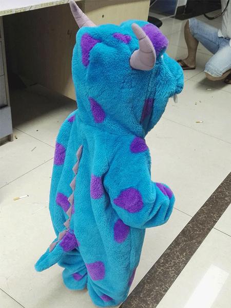 Milanoo Kigurumi Pajamas Monster Sulley Onesie Kids Flannel Blue Winter Sleepwear Mascot Animal Costume Halloween