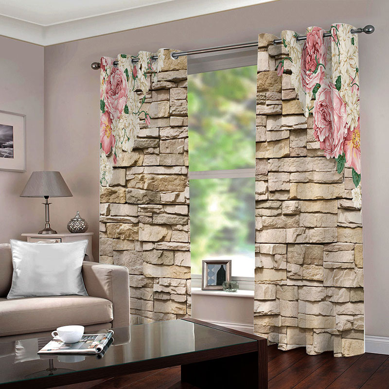 3D Brick Wall and Floral Printed Blackout Decoration 2 Panels Curtain Drapes for Living Room No Pilling No Fading No off-lining
