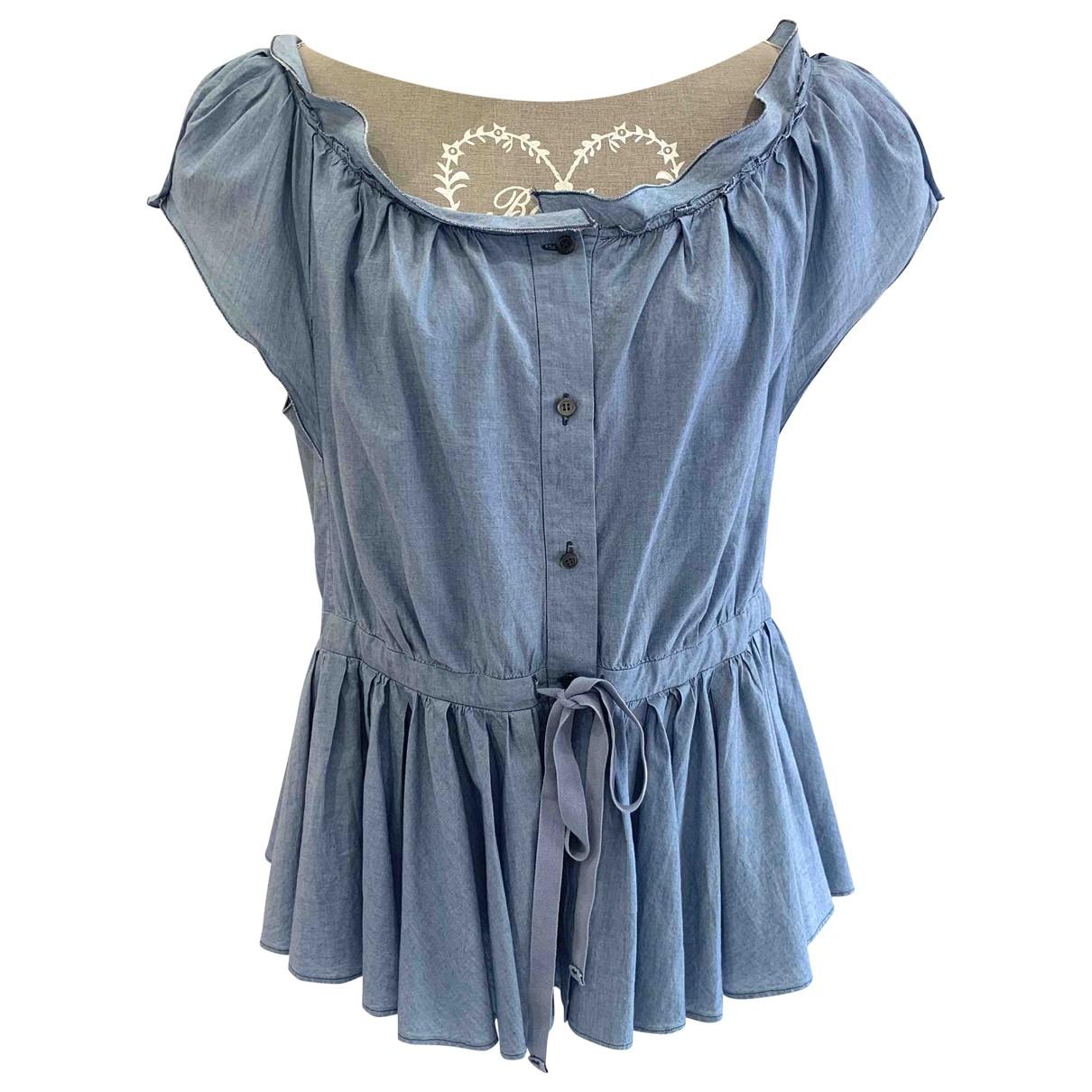Prada - Top   pour femme en coton - bleu