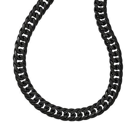 Mens Stainless Steel Black Ip-Plated Double Curb Chain Necklace, One Size , No Color Family