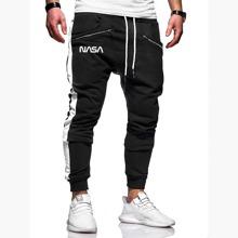 Pantalones deportivos de hombres con cremallera con estampado de letra