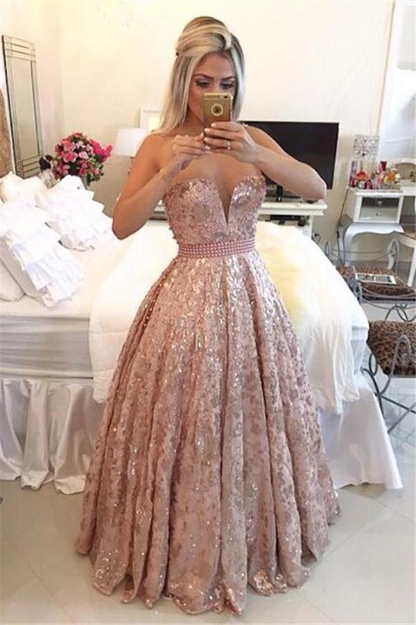 Illusion Bretelles Tulle Robe De Bal En Dentelle Brillante Perles Pas Cher Perles Rose Douce 16 Robe De Quinceanera BA3677