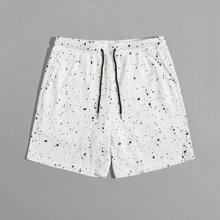 Men Splash Print Drawstring Waist Shorts