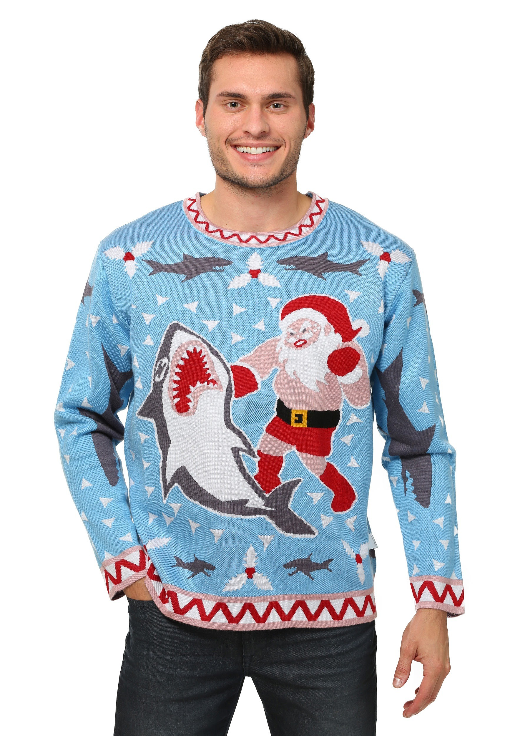Mens Santa vs Shark Ugly Christmas Costume Sweater