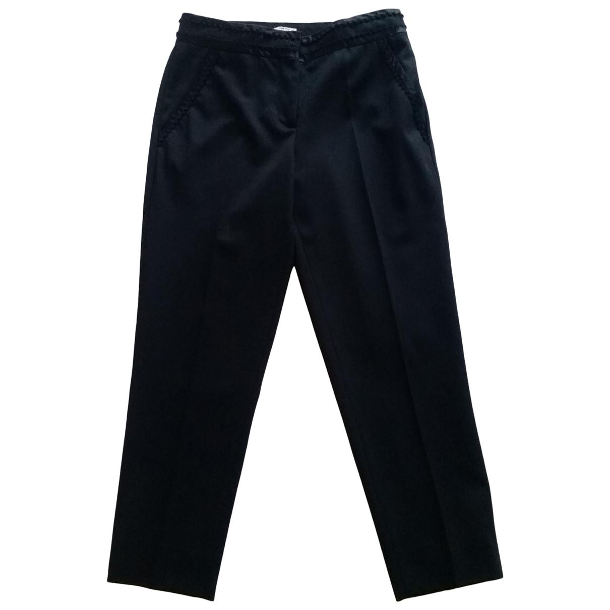 Miu Miu \N Black Wool Trousers for Women 38 IT