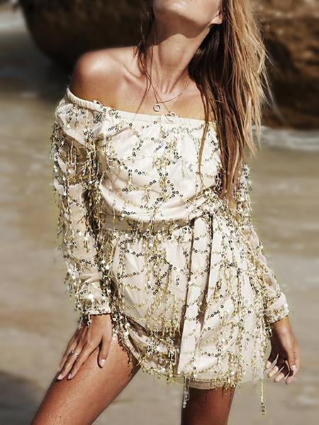 Yoins Beige Sequins Embellished Off The Shoulder Mini Dress