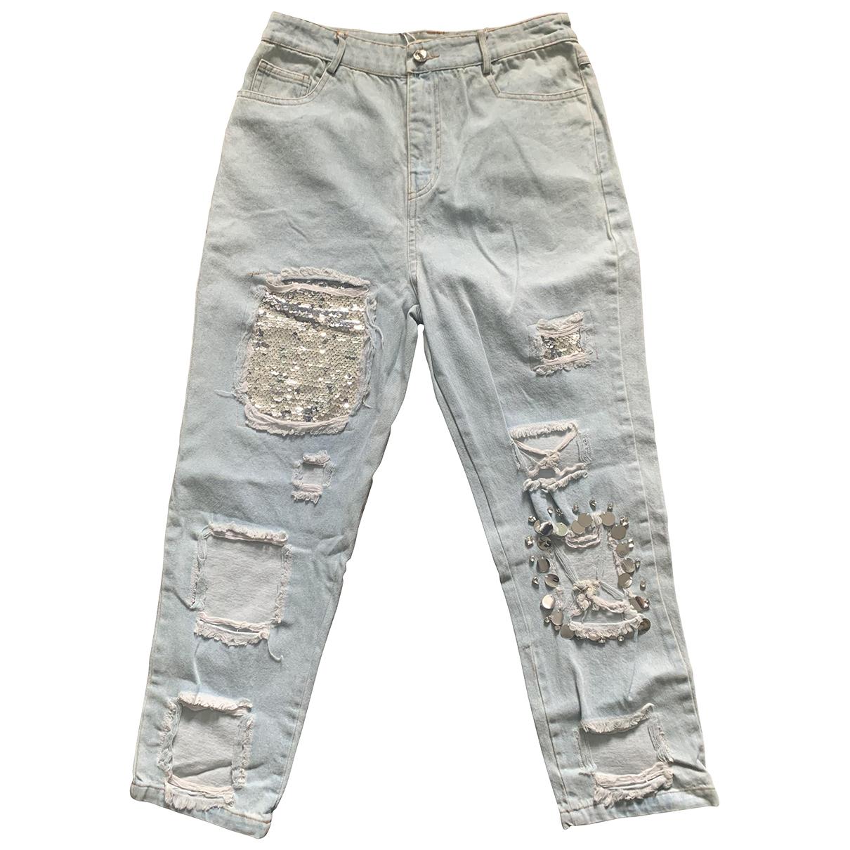 Bdba Oversize Blue Cotton Trousers for Women 38 FR