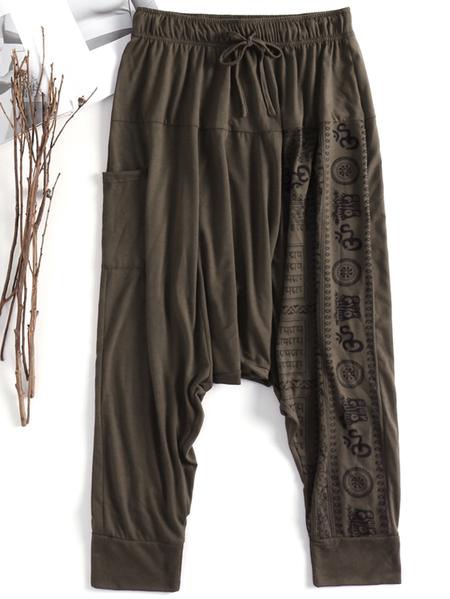 Yoins INCERUN Men Vintage Loose Baggy Harem Pants Yoga Printed Tapered Trousers