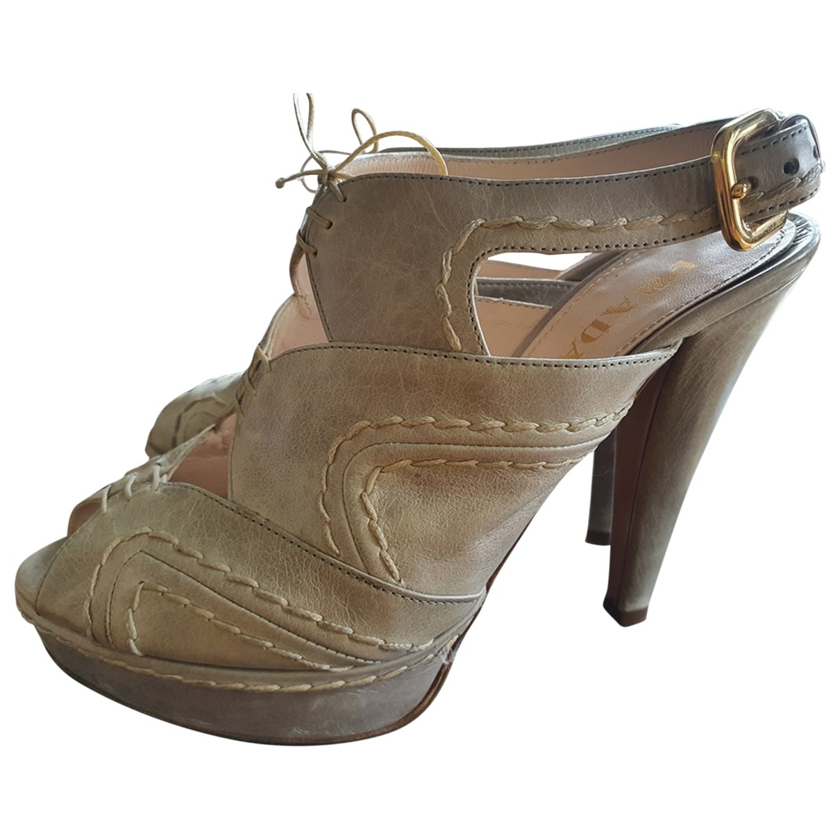 Prada \N Grey Leather Sandals for Women 35.5 EU
