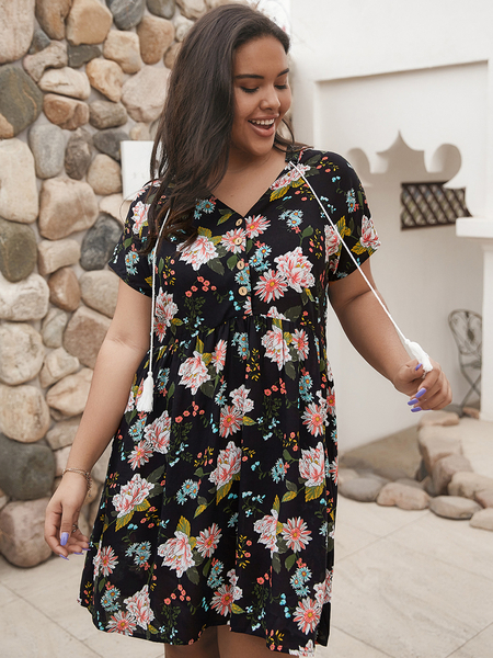 Yoins Plus Size Button Design Floral Print V-neck Dress