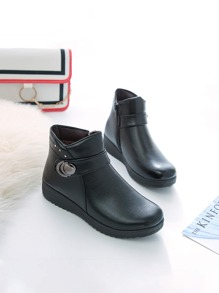 Rhinestone Decor Side Zip Ankle Boots