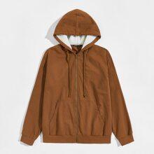 Men Contrast Faux Shearling Lining Pocket Front Hooded Jacket