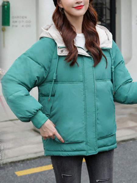 Milanoo Abrigos de invierno para mujer Abrigo acolchado de manga larga con cordon amarillo con capucha