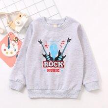Toddler Boys Guitar & Letter Graphic Sweatshirt