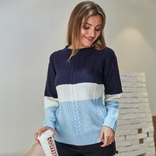 Color Block Mixed Knit Sweater
