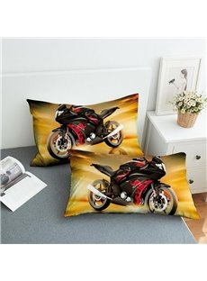 Cool Red Motorcycle Reactive Printing 2-Piece Polyester Pillowcase
