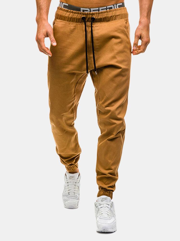 Mens Solid Color Drawstring Elastic Waist Slim Fit Fitness Jogging Casual Sport Pants